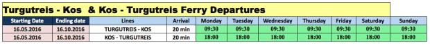Bodrum Ferryboat Turgutreis to Kos 2016 Timetable