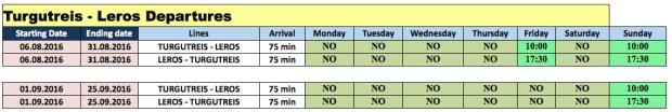 Bodrum Ferryboat Turgutreis to Leros 2016 Timetable