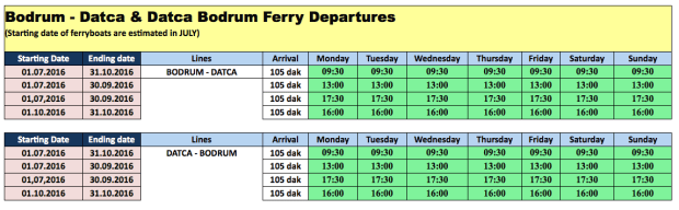 Bodrum Ferryboat Bodrum to Datca 2016 Timetable