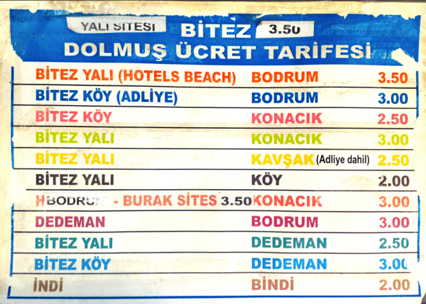 Bitez Dolmus Prices for 2016