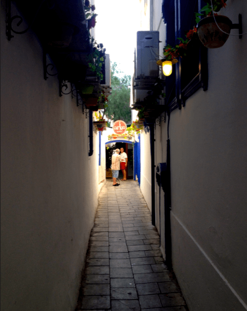 Lane leading to Arka Pizzeria Bodrum Turkey