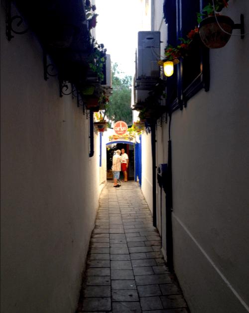 Lane leading to Arka Pizzeria Bodrum Turkey