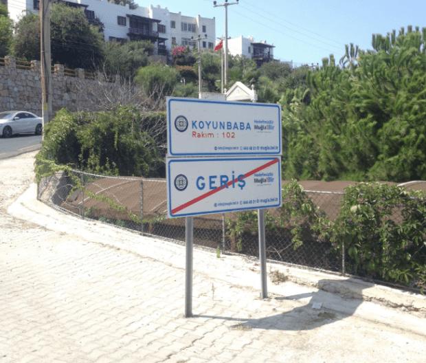 Koyunbaba and Geris Sign Bodrum Turkey