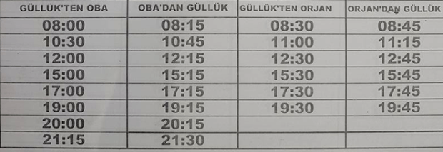 2017 Timetable Gulluk local bus service