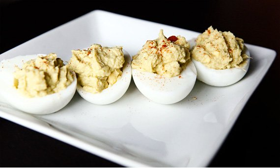 Paleo Deviled Eggs with Apple Compote