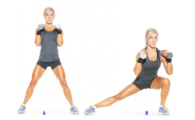 Lateral Step With Bicep Curl