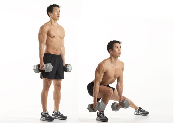 Side Lunges With Dumbbell Raise