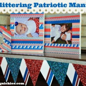 I love this glittering patriotic mantle made with glitter papers, glitter tapes, and washi tape!