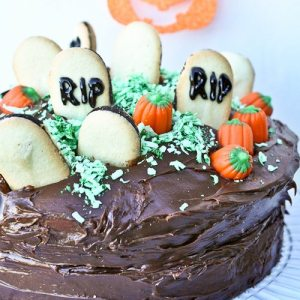 I love this Graveyard Cake! Simple enough for kids to help with, but cute enough to impress at a Halloween party! Brilliant!