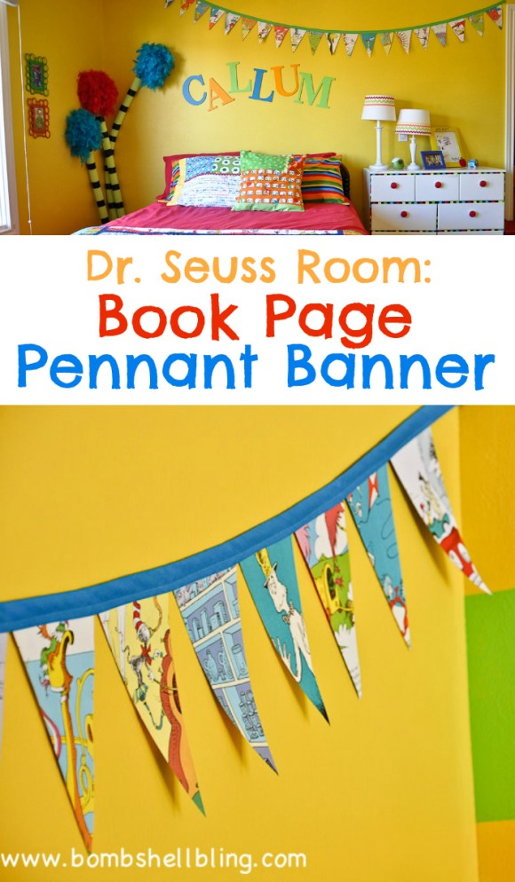 Dr Seuss Room Book Page Pennant Banner