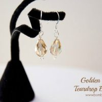 Golden Crystal Teardrop Earrings