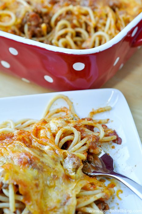 This old family recipe for baked spaghetti has a surpsingly zesty flavor and is SOOO GOOD!