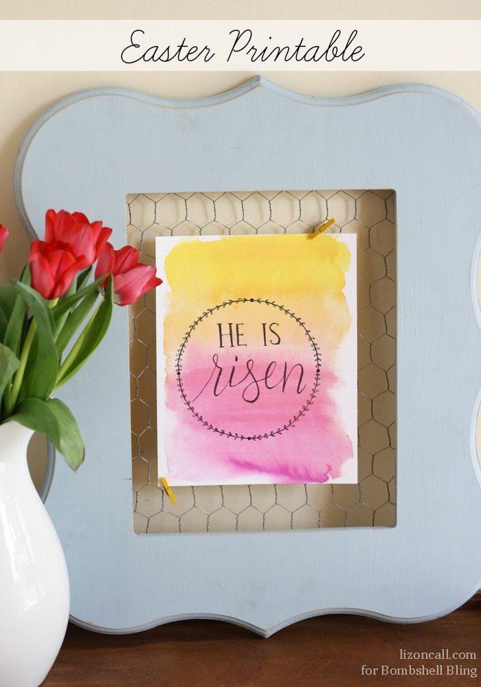 He Is Risen Easter Printable by Bombshell Bling