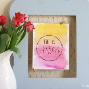 He is Risen - free hand drawn watercolor Easter printable
