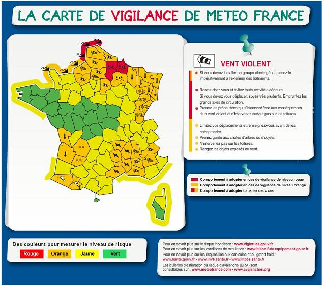"""Carte de """"vigilance"""" de Mété-France... (note : vous voyez les Antilles ? La Réunion ?)"""