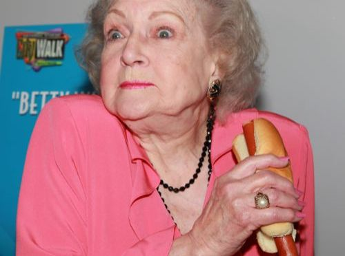 "UNIVERSAL CITY, CA - APRIL 19:  Actress Betty White attends the opening of Pink's Hot Dogs and the unveiling of the Betty White ""Naked"" Hot Dog at Pink's Universal CityWalk on April 19, 2010 in Universal City, California.  (Photo by David Livingston/Getty Images)"