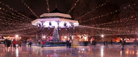 London Winter Wonderland ice rink with christmas tree and romantic fairy lights