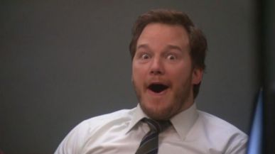 Park and Recreation's Chris Pratt pulls excited face