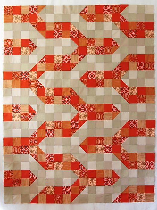 Modern Chevron Baby Quilt in Tangerine - a quilt tutorial by Kirsty at Bonjour Quilts