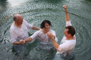 A joyous full immersion baptism