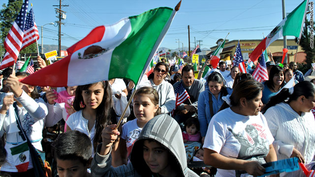 Immigration rally with Mexican flag in LA