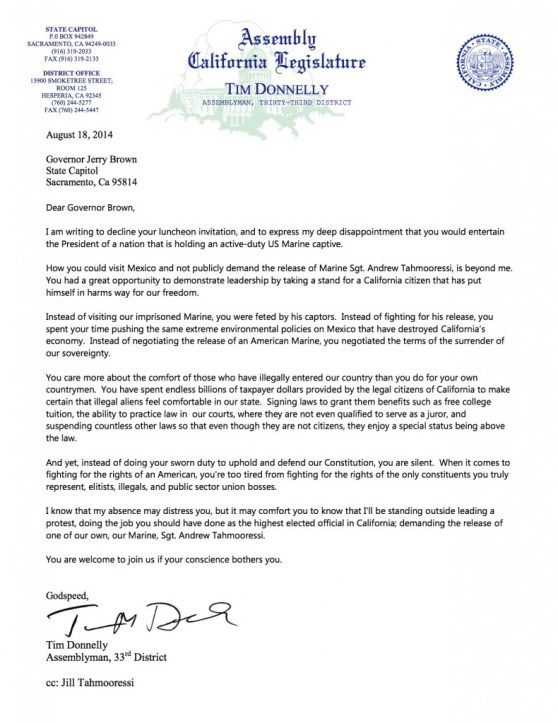 Donnelly letter to Jerry Brown re Mexican President