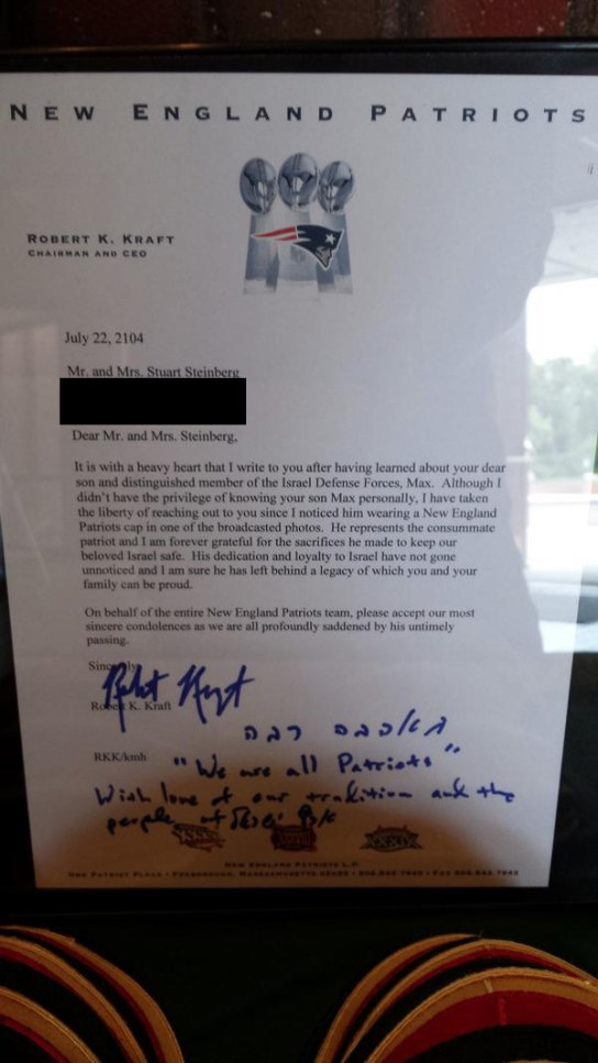 Robert Kraft's Letter to Steinbergs