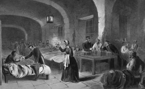 A romanticized Victorian picture of Florence Nightingale and her lamp