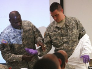 Troops training for Ebola duty