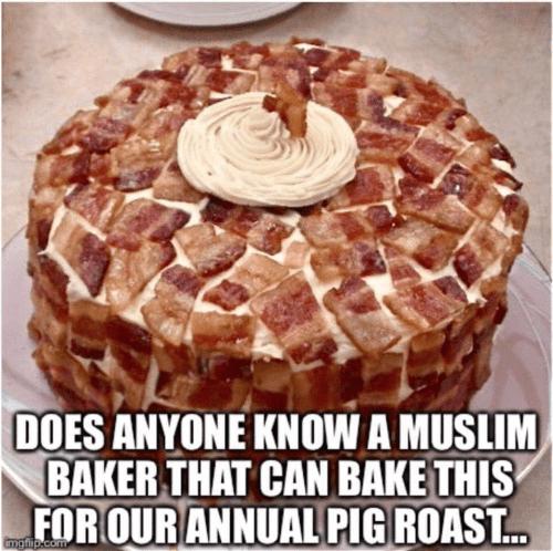 Bacon cake Muslim baker