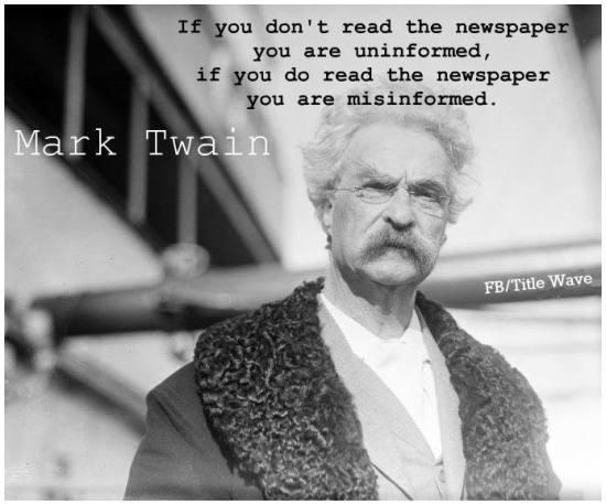 Mark Twain on newspaper reading