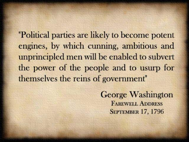 Geprge Washington on political parties