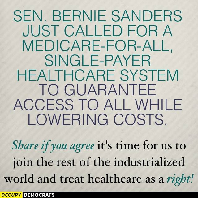 Bernie Sanders calls for socialized medicine