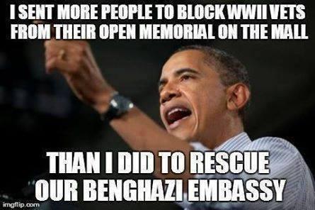 Benghazi Obama WWII vets mall