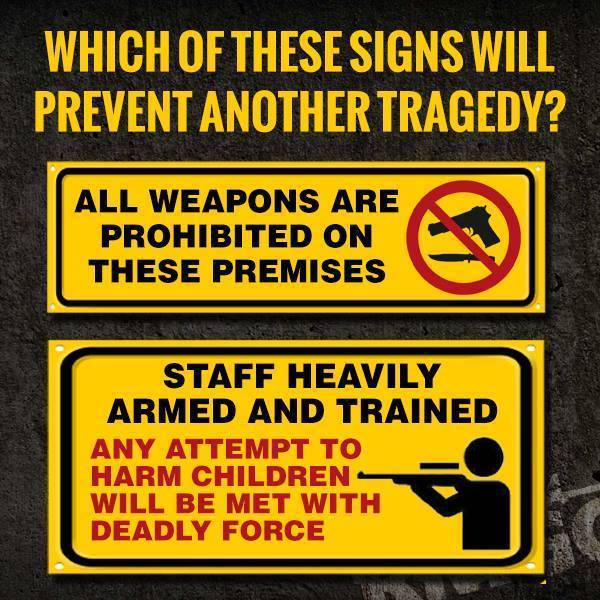 Which gun sign will prevent a tragedy