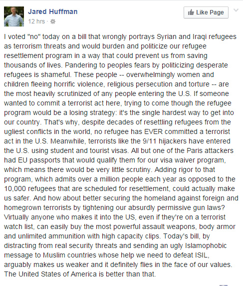 Jared Huffman on refugees