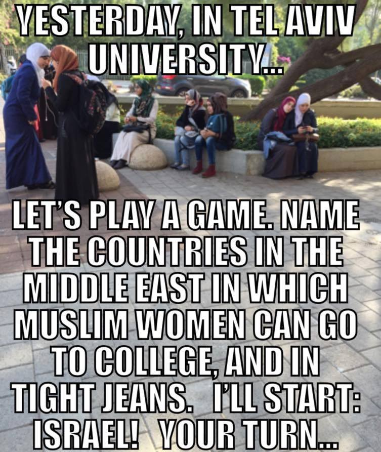 Middle Eastern country where women go to college in jeans