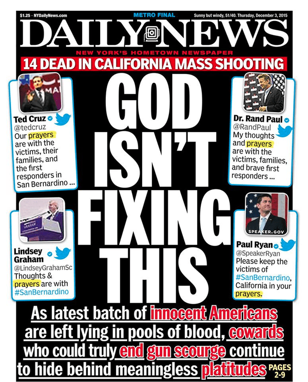 New York Daily News cover about prayers and mass murder
