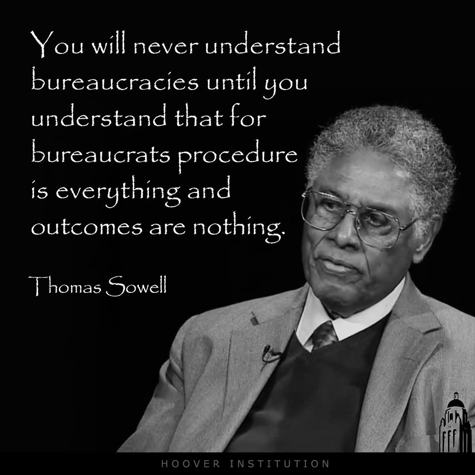 Bureaucracy about procedure not outcome