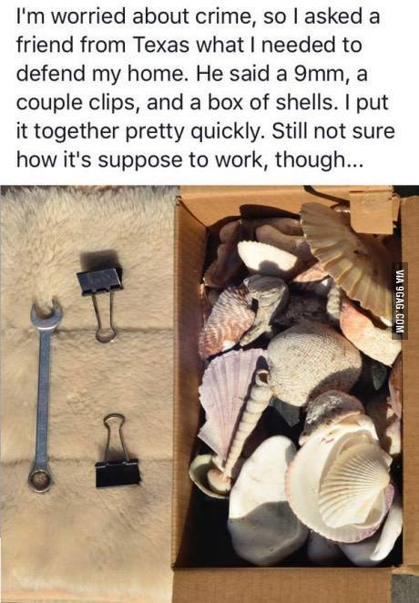 Gun joke Defending your home with a shell and some clips