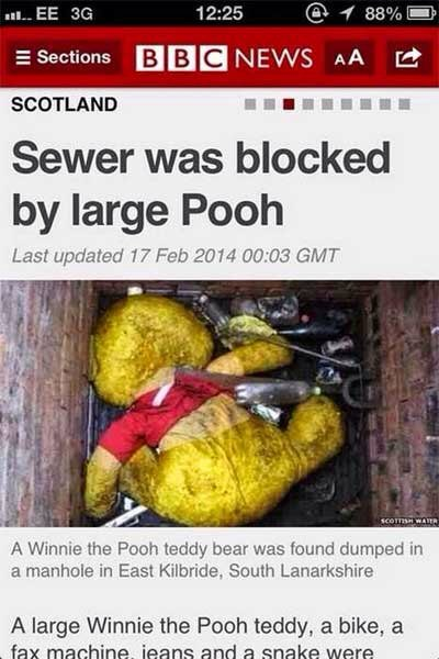 Sewer blocked by large Winnie the Pooh