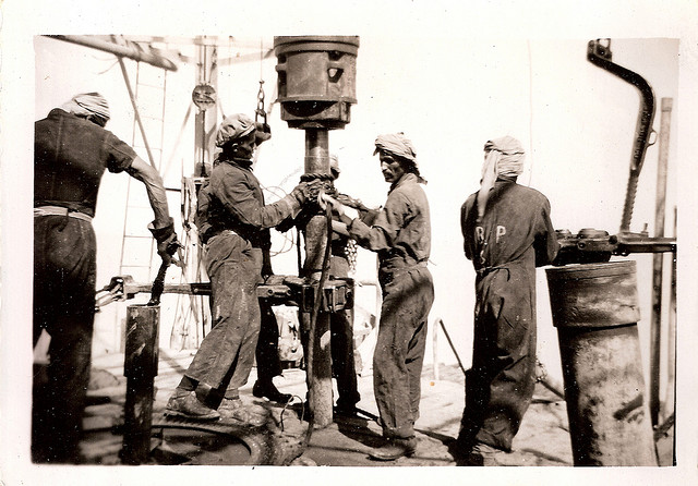 Drilling for oil in 1950s Kuwait.