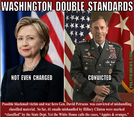 Hillary Clinton Petraeus double standards