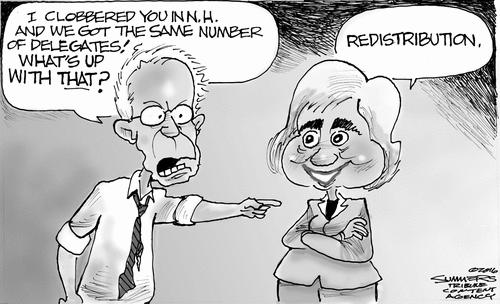 Hillary redistributes Bernie candidates