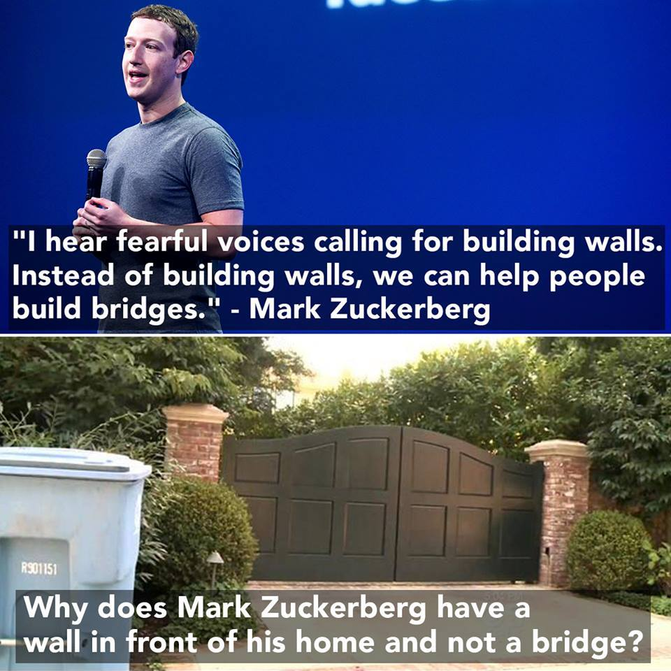 Stupid liberals Mark Zuckerberg and his personal wall