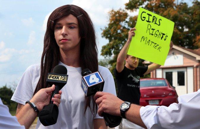 Boy in long wig