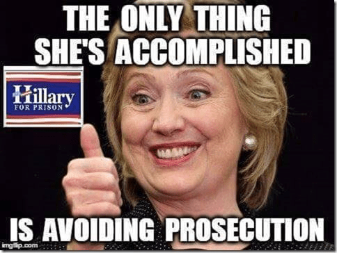 Description:                                                          Hillary                                                          avoided                                                          prosecution so                                                          far