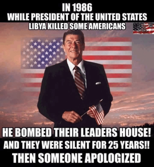 Description:                                                          Wisdom Reagan                                                          bombed Libya