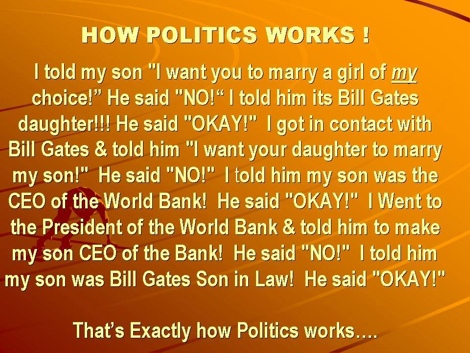 Politicians how they work