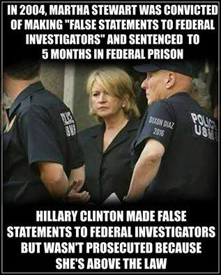 Hillary above law unlike Martha Stewart